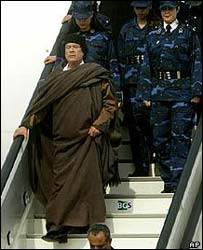 Libyan leader Colonel Gaddafi never travels without his female bodyguards